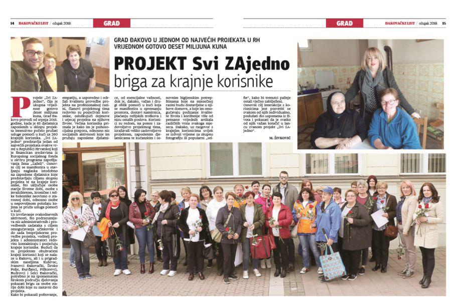 """Projekt """"Svi ZAjedno"""" u Đakovačkom listu"""